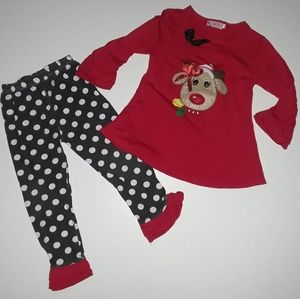 Christmas Reindeer 2 pc Polka dot Ruffle Set